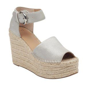 Marc Fisher Alida Ankle Strap Espadrille Silver